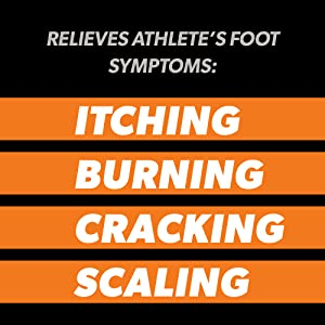The words Relieves Athlete's Foot Symptoms like itching, burning, cracking, and scaling