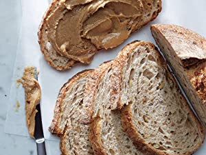 Slices of bread with nut butter