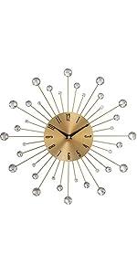 """Deco 79 85515 Metal Gold Wall Clock 15"""" D"""