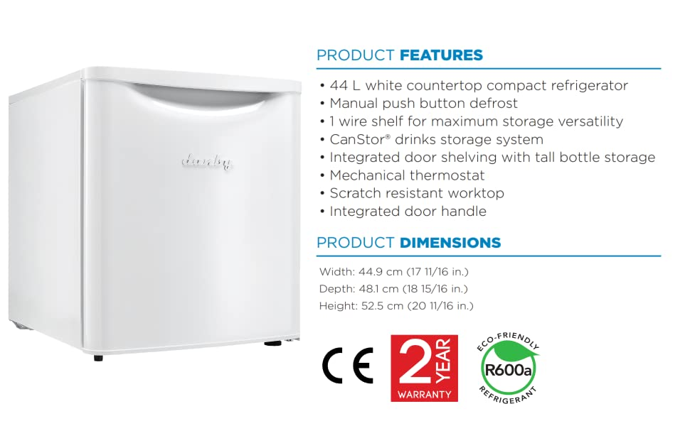 Danby 44 L Countertop Compact Refrigerator Energy Efficient Mini Fridge Tabletop Fridge With Freezer Compartment Adjustable Wire Shelves Tall Bottle And Can Storage White Amazon Co Uk Large Appliances