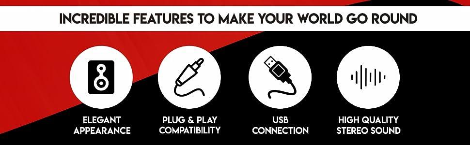 Quantum QHM636 Portable Laptop/Desktop USB Powered Multimedia Wooden Speaker with AUX Input (Black)