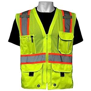 frogwear hv high visibility mesh polyester surveyors safety vest