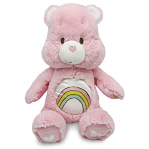 Care Bears Soother Bear Stuffed Animal Plush with Music & Lights, Cheer Bear - Pink