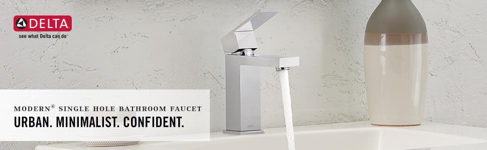 Delta Faucet Modern Single-Handle Bathroom Faucet with