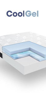 Queen 14 Inch cool gel memory foam mattress, gel mattress queen, best plush cool gel mattress