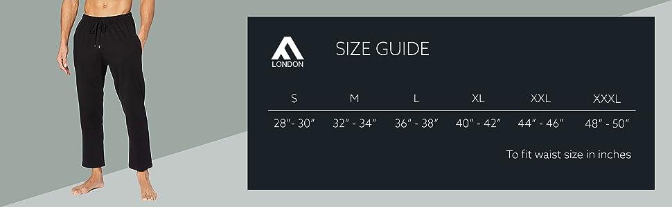 mens pyjama size chart