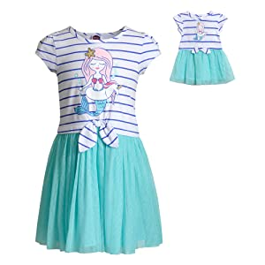 Dollie /& Me Cold Shoulder Dress Set with Matching Outfit-Girl /& 18 Inch Doll Clothes