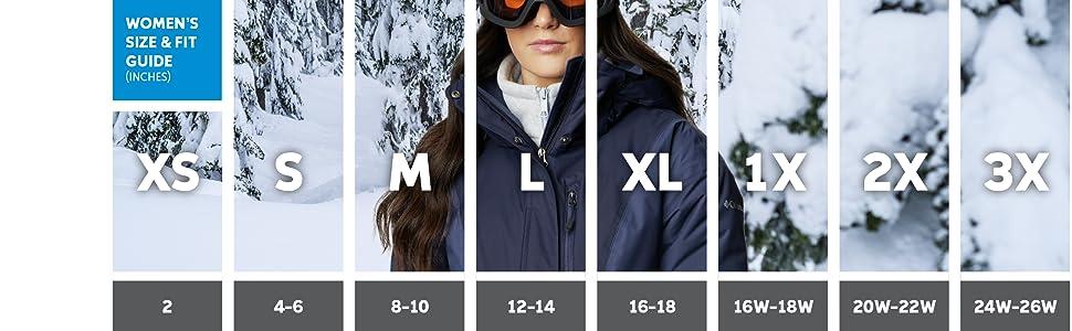 Women's ski jacket sizing