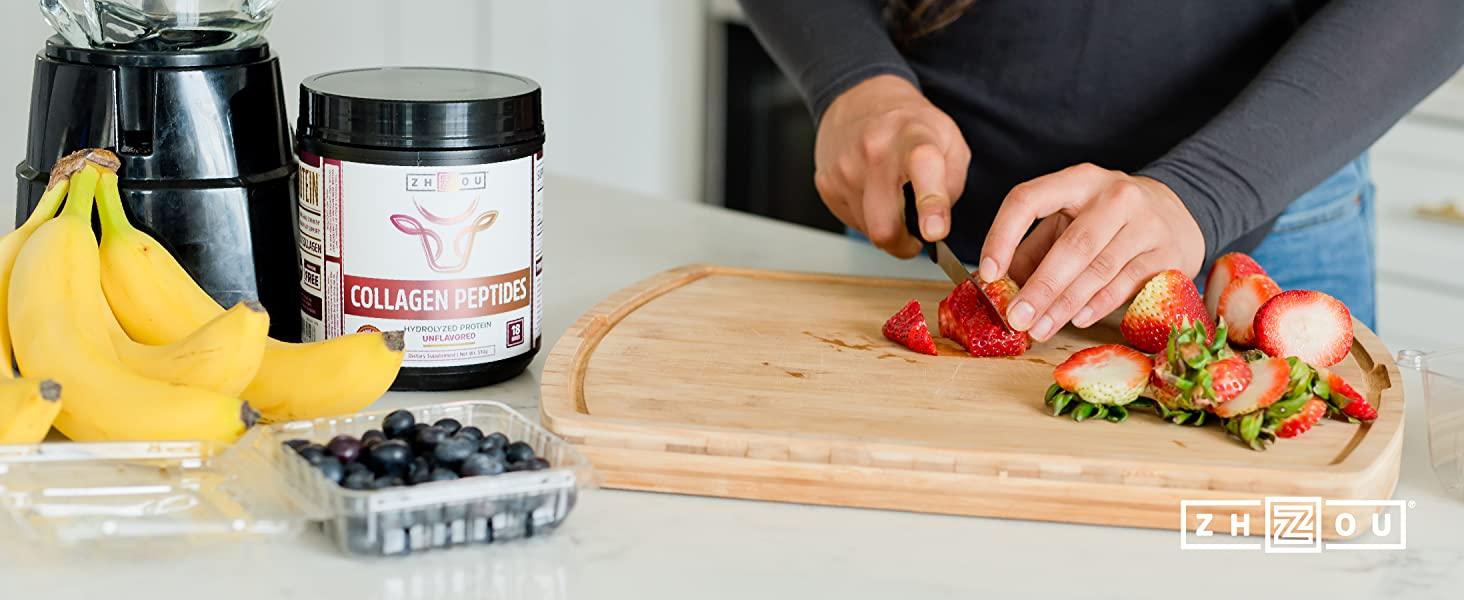 person preparing a smoothie using zhou nutrition collagen peptides and fruits
