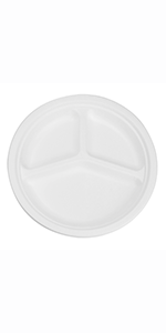 """Karat Earth 10"""" Bagasse Round Plate, 3-Compartment"""