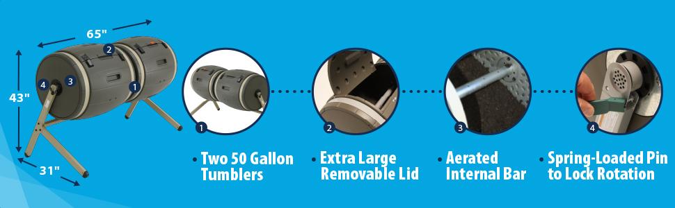 Amazon.com: Lifetime 60309 - Composter giratorio doble para ...