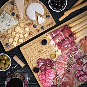 charcuterie, cheese, cheese board, fred, cutting board, wood, serving, host, cut, board, olives