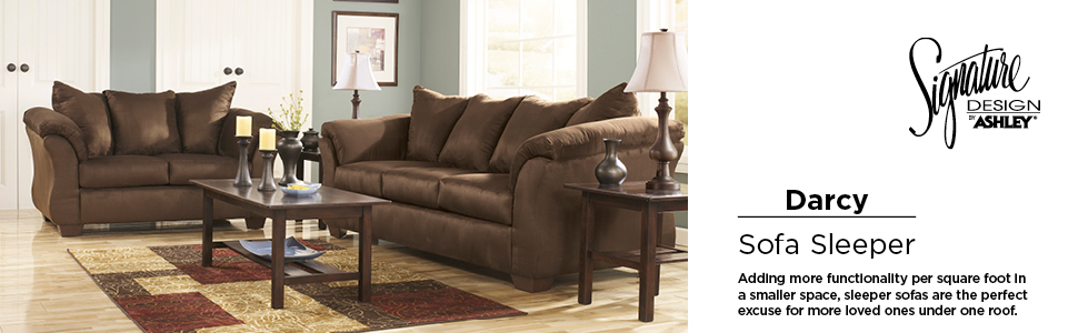 Strange Signature Design By Ashley Darcy Full Size Ultra Soft Upholstery Sleeper Sofa Cafe Brown Ocoug Best Dining Table And Chair Ideas Images Ocougorg