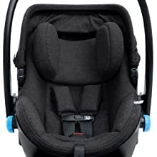 The two-stage insert system provides proper head support and a snug seating position for newborns.