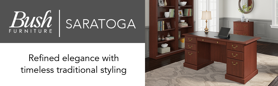 Amazon Com Bush Furniture Saratoga Executive Desk In