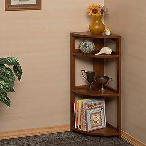 bookcase, corner bookcase, flip flop, folding bookcase, corner shelf, cherry, wood shelf