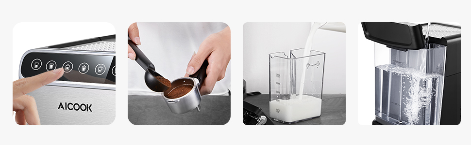 Aicook cafetera espresso, 15 bares presión, depósito agua ...