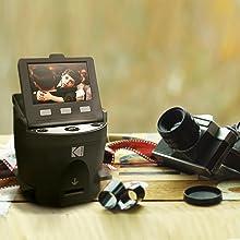 Kodak Digital Film Scanner, Converts 35mm, 126, 110, Super 8 and 8mm Film Negatives and Slides to JPEG Includes Large Tilt Up 3.5 LCD and EasyLoad Film Inserts 11