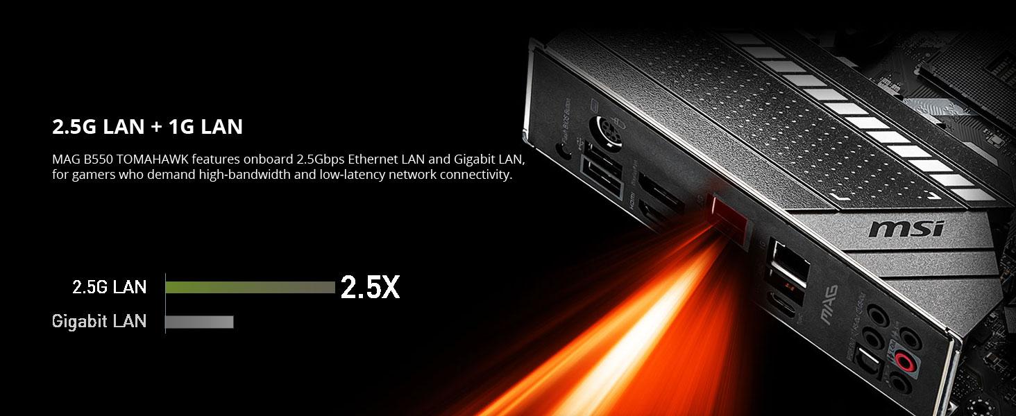 msi mag b550 tomahawk 2.5g lan gigabit ethernet wired internet