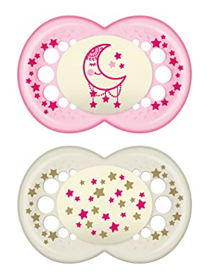 MAM Glow In the Dark Pacifiers, Baby Pacifier 6+ Months, Best Pacifier for Breastfed Babies, Night Design Collection, Girl, 2-Count