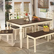 Amazon Com Signature Design By Ashley Valebeck Counter Height Dining Room Table White Brown Furniture Decor
