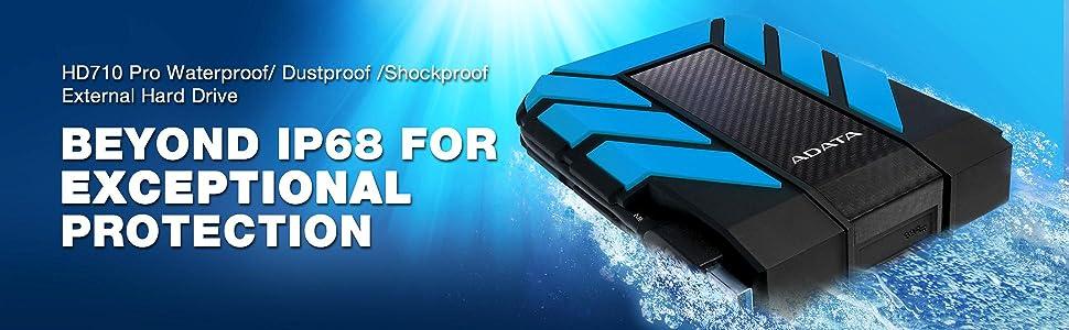 NEW ADATA HD710 Pro Blue External HDD 2TB IP68 Waterproof Shockproof Hard Drive