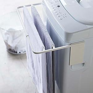 山崎実業 マグネット 伸縮 洗濯機横 バスタオ ハンガー プレート ホワイト 4875