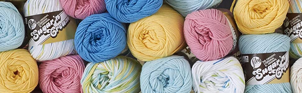 lily sugar'n cream cotton yarn cone ball knit crochet craft striped solid colorful washable ombres