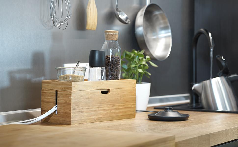 KD Essentials - Caja de madera de bambú para organizar cables