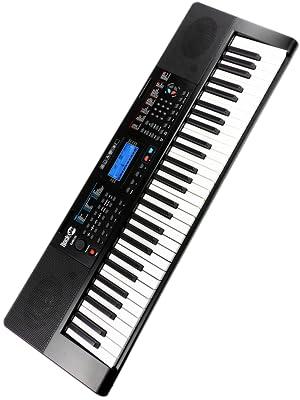 RockJam RJ461AX Teclado de piano digital portátil Alexa de 61 teclas con soporte de música, fuente de alimentación, aplicación para piano Simply y ...