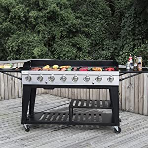 Amazon.com: Royal Gourmet parrilla con 8 quemadores, Negro ...