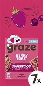 graze berry burst superfood oat bites havermoutrepen| 7 x 120 gram