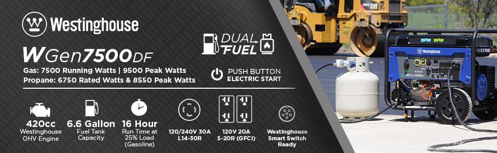wgen7500df dual fuel push button electric start propane gas power portable generator westinghouse