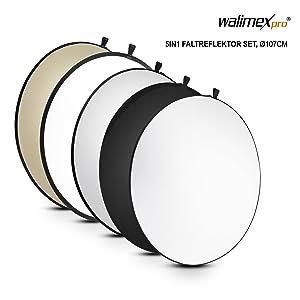Walimex 5in1 Faltreflektor Set 107 Cm Wavy Gold Silber Kamera