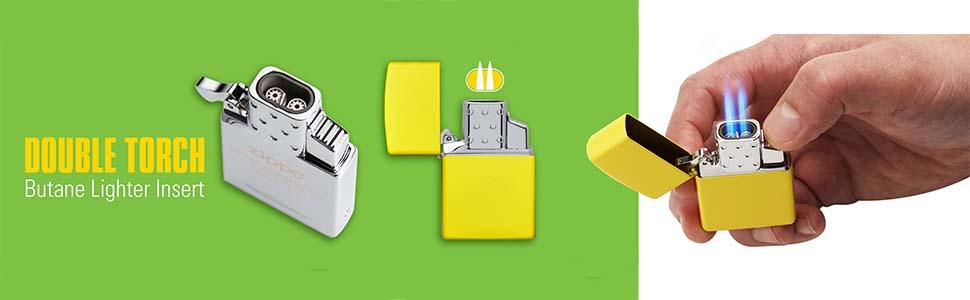 double torch, refillable, butane refillable, insert, zippo insert, zippo refillable butane insert