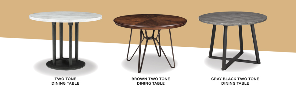 two tone dining table brown gray black round tables modern contemporary