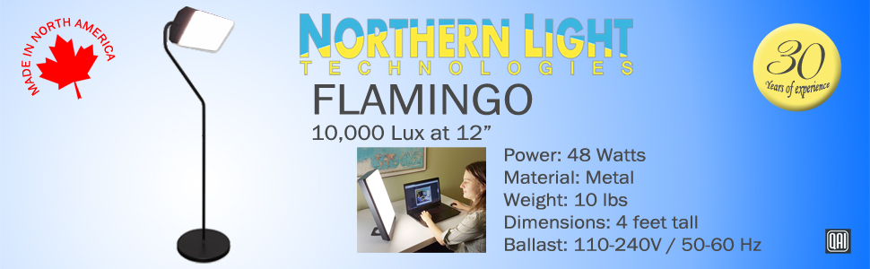 Flamingo floor lamp model metal canada america Northern Light Technologies 10,000 Lux bright lights