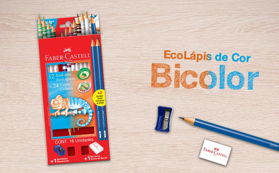 lápis bicolor, ecolápis bicolor, lápis de cor, faber-castell, colorido