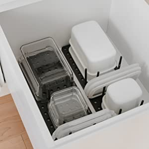 drawer organizer, tupperware organizer, shelf organizer, kitchen drawer organizer, pot organizer