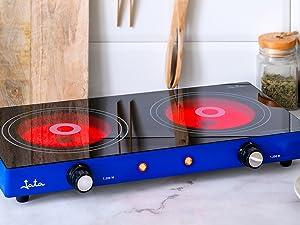 Jata V142 Cocina Eléctrica Vitrocerámica con Dos Placas de 16,5 cm Cuerpo Metálico 2 Termostatos Regulables de Temperatura 2400 W