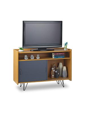 Relaxdays, Marrón Mueble TV con 3 Compartimentos y Puertas Correderas, Estilo Vintage, DM y Metal, 73 x 105 x 40 cm: Amazon.es: Hogar