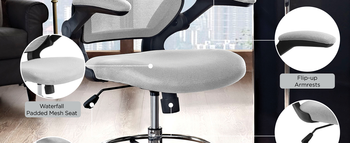 Amazon Com Modway Veer Drafting Stool Chair 26l X 26w X 49 5h Gray Furniture Decor