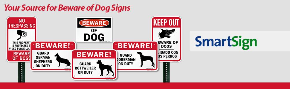 Beware of Dog Security Sign, Aluminum, Guard Dogs, Rottweiler, German Shepherd, Doberman
