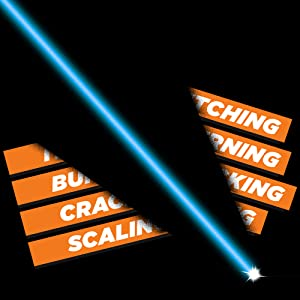 Illustration of a laser beam striking through the words Itching, Burning, Cracking, and Scaling