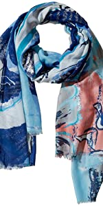 Tickled Pink light blue dark blue and pink-salmon and white colored fluid print summer scarf