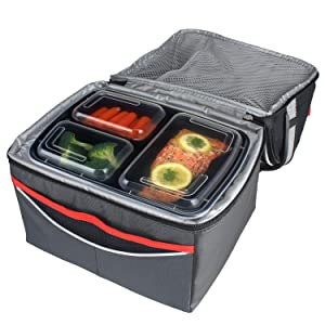 freshware 15 pack 3 compartment bento lunch boxes with lids stackable reusable. Black Bedroom Furniture Sets. Home Design Ideas