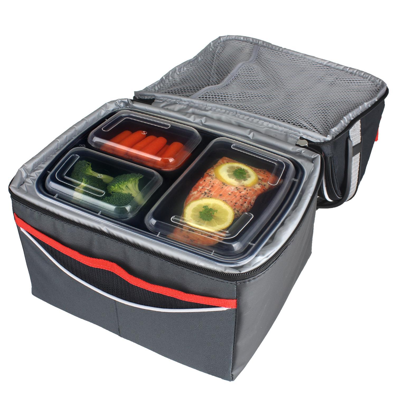 freshware contenedor de alimentos de 3 compartimientos paquete de 15 reusable seguro para. Black Bedroom Furniture Sets. Home Design Ideas