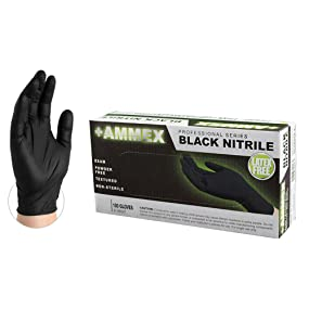 Glove, Black, Exam, Nitrile Gloves, Latex Free