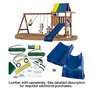Swing N Slide Ne 4476 Wrangler Deluxe Play Set Hardware Kit With Slide Wood Not Included Yellow
