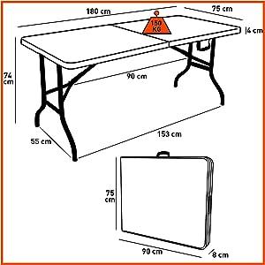 75 180 X 74 101587 Cm Rekkem Blancnoir Pliante Table QCxBdWroe